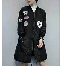 Womens Casual Coat – Black / Decorative Patches