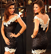 Lace Sequined Dress / Plunging Neckline / Lace Hemline / Sleeveless