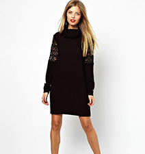 Black Turtleneck Sweater Dress – Long Crochet Sleeves / Popcorn Knit / Ribbed Edging
