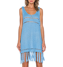 Crocheted Fringe Hem Dress – Electric Blue
