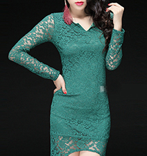 Green Lace Dress – V Neckline / Short Hemline at Front / Dipped Waterfall Drop