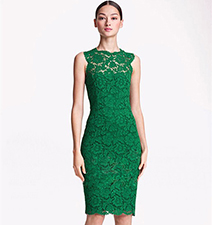 Green Flower Print Lace Dress – Knee Length Skirt / Sleeveless