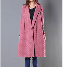 Womens Full Length Quilted Coat – Pink / Side Pockets