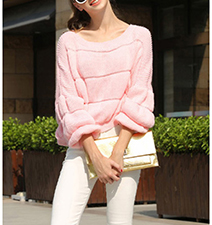 Womens Pullover Sweater – Soft Pink / Wide Horizontal Stripes
