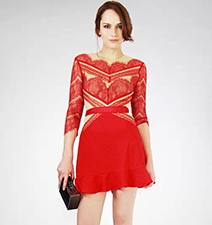 Red Lace Dress – Flesh Colored Panels / Ribbon Bands