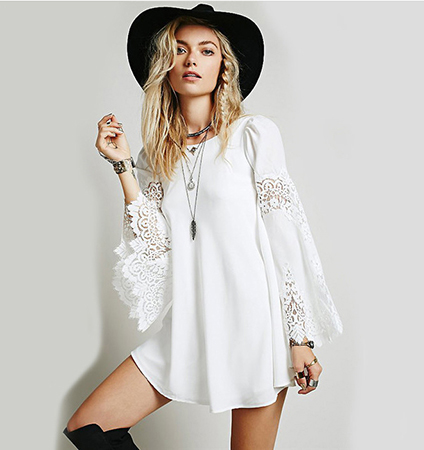 White Colored Dress – Lace Sleeves / Rounded Hemline