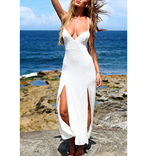 White Double Kick Split Island Dress