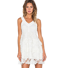 Crochet Mini Dress – Sleeveless / Cut Out Shoulder / Tiered Lace Trim / Lined