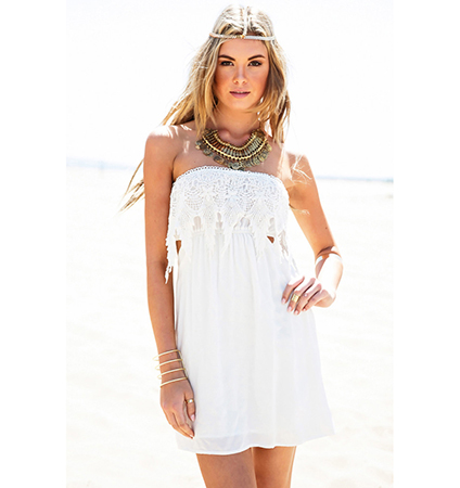 White Lace Dress – Pointed Lace Bodice / Off The Shoulder / Elastic Waist / Open Back