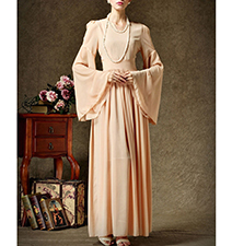 Victorian Inspired Formal Dress – Sheer Skirt / Bell Sleeves / Apricot