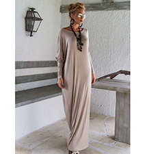 Long Sleeves Maxi Dress – Beige Colored