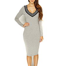 Beige Sweater Dress – V Neck Plunge / Black and White Lines Around The Neck