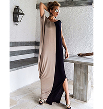 Maxi Dress – Rounded Neckline / Half Beige and Half Black