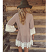 Beige Dress – Lace White Detailing / Rounded Neckline