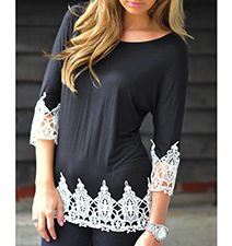 Womens Casual Blouse – Dark Charcoal Gray / White Lace Trim