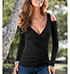 Womens Cold Shoulder Blouse – Long Sleeves / Black