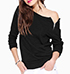 WMNS Cold Shoulder Blouse – Black / Long Sleeves