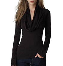 Womens Fitted Blouse – Solid Black / Long Sleeves