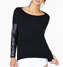 Womens Blouse – Solid Black / Faux Leather