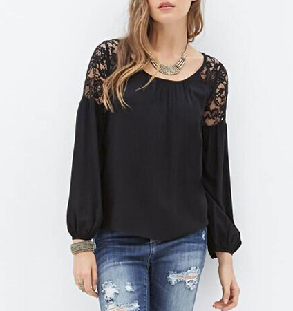 Womens Casual Blouse – Lace Cutouts / Black