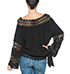 Womens Peasant Style Blouse – Black / Lace Trim