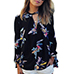 Womens Blouse – Floral Print on Black / Long Sleeves