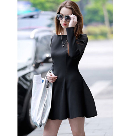 WMNS Skater Dress – Black / A Line / Fit and Flare Style