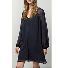 Black Chiffon Short Dress – Loose Fitting / V Neck Cut