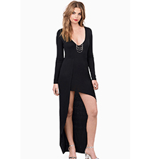 High Low Maxi Dress – Black / Plunging V Neckline / Long Sleeves