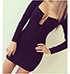Black Colored Bodycon Dress – Low Cut Chest line / Long Sleeves