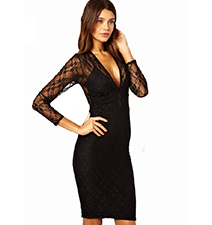 Sexy Lace Three Quarter Dress – Black / V Neckline