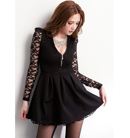Long Sleeved Fit And Flare Dress V Neckline Lace Sleeves Black