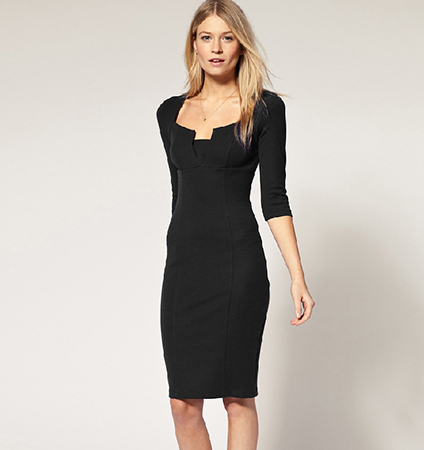 Black Three Quarter Dress – Knee Length / Three Quarter Sleeves