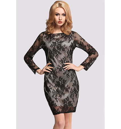 Black Lace Dress – Long Sleeves / Rounded Neckline / Floral Print