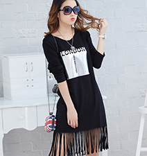 Black Fringe Dress – Tassels on Hemline / Rounded Neck / London Print on Front