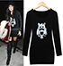 Black Dress – Owl Print On Front / Long Sleeves / Three Quarter Length