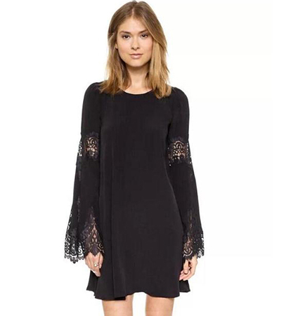 Black Colored Lace Dress – Rounded Neckline / Long Flared Sleeves
