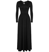 Maxi Empire Waist Dress – Black / Long Sleeves / Pleated Skirt