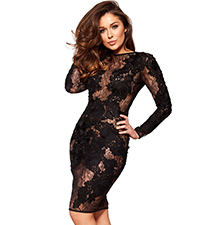 Black Lace Dress – Long Sleeves / Bodycon Cut / Knee Length