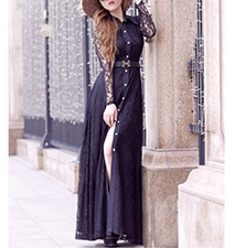 Maxi Dress – Black / Lace Sleeves / Buttons Down Front