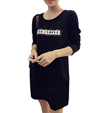 Tee Shirt Style Mini Dress – Black / Rounded Neckline