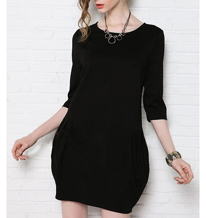 Womens Mini Dress – Black / Timeless Style / Simple Rounded Neckline
