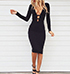 Sexy Black Dress – Strappy Bodice / Open Neckline / Long Sleeves / Form Fitted