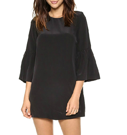Black Mini Dress – Bell Sleeves / Round Neckline / Wide Hemline