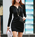 Black Cotton Dress – Rounded Neckline / Small V-Neck / Long Sleeves / Slim Fit
