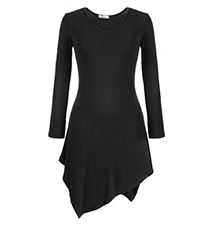 Long Sleeves Black Dress – Asymmetrical Handkerchief Hemline / Round Neckline / Slim Fit