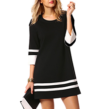 A Line Dress – Striped Accents / Round Neckline / Mid Length Sleeves