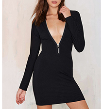 Slim Black Dress – Zippered Neckline / Short Hem / Long Sleeves