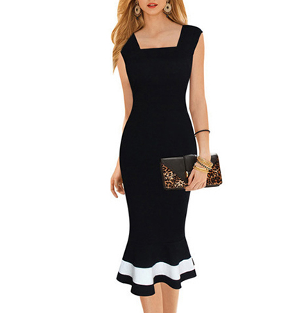 Midi Dress Black With White Trim Mermaid Flare