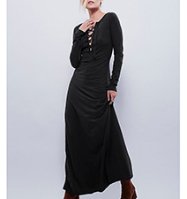 Long Sleeves Maxi Dress – Solid Black / Button Front